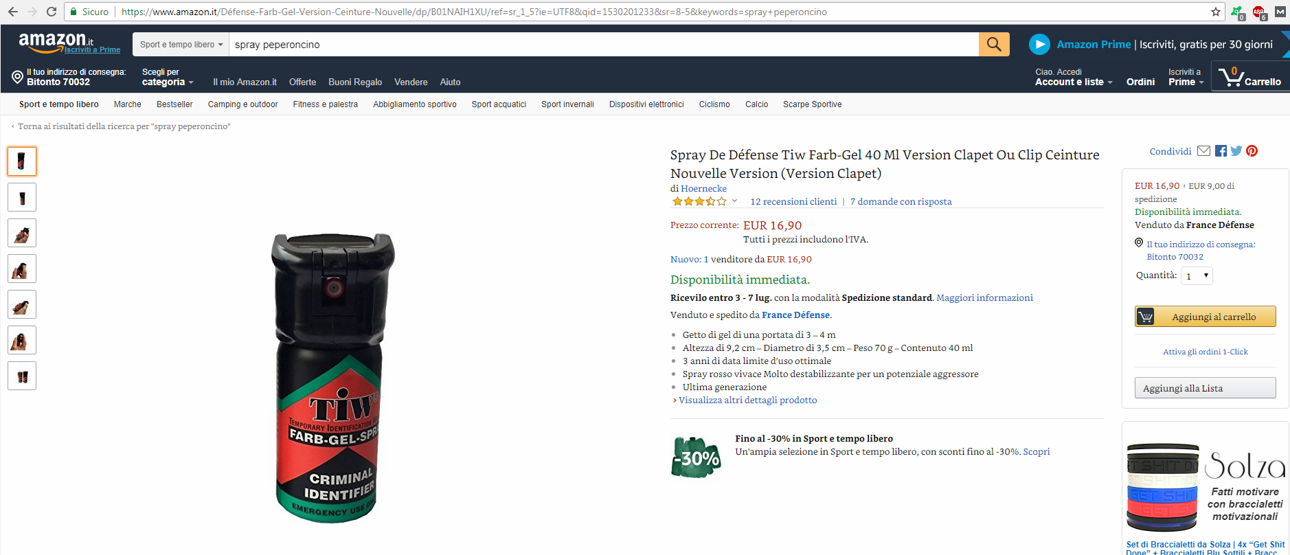 Spray antiaggressione venduti su Amazon