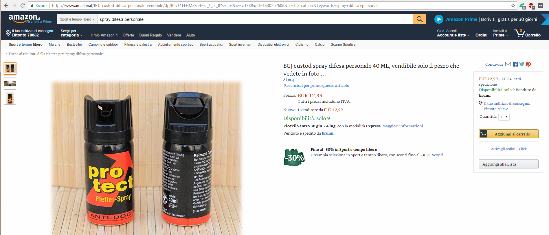 spray antiaggressione amazon.it