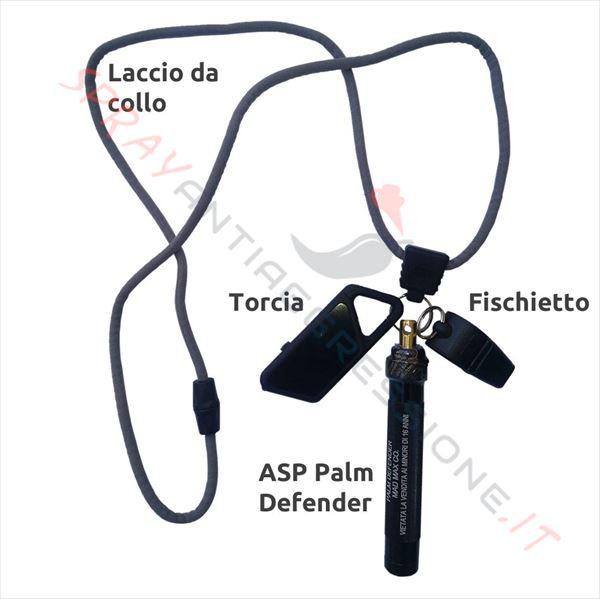 Immagine di Kit ASP Safety System Nero con Palm defender, fischietto, laccio e torcia USB