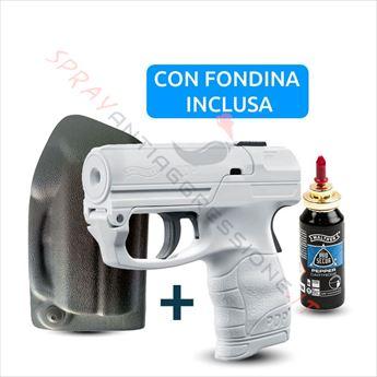 Immagine di Pistola spray al peperoncino UMAREX Pepper Gun PDP Walther bianca con fondina dx